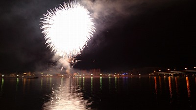 河口湖冬花火の写真