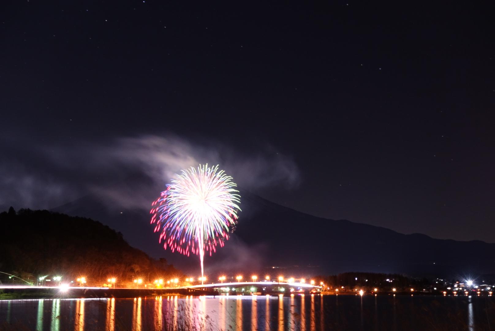 花火と富士山